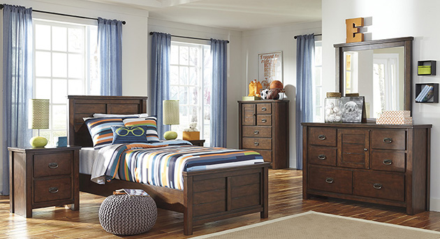 Ladiville Twin Panel Bed, Dresser, Mirror, Chest U0026 Night Stand