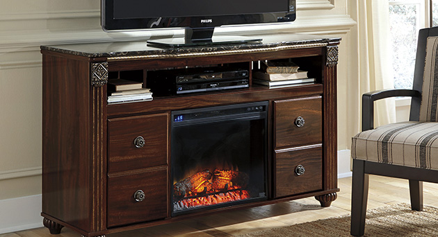 Gabriela Large TV Stand w/ LED Fireplace Insert